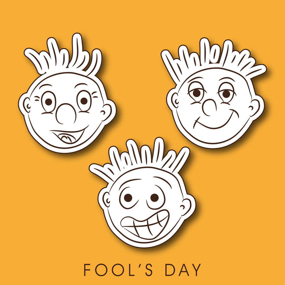 Happy Fool's Day Funky Concept With Funny Faces On Bright Yellow Background.
