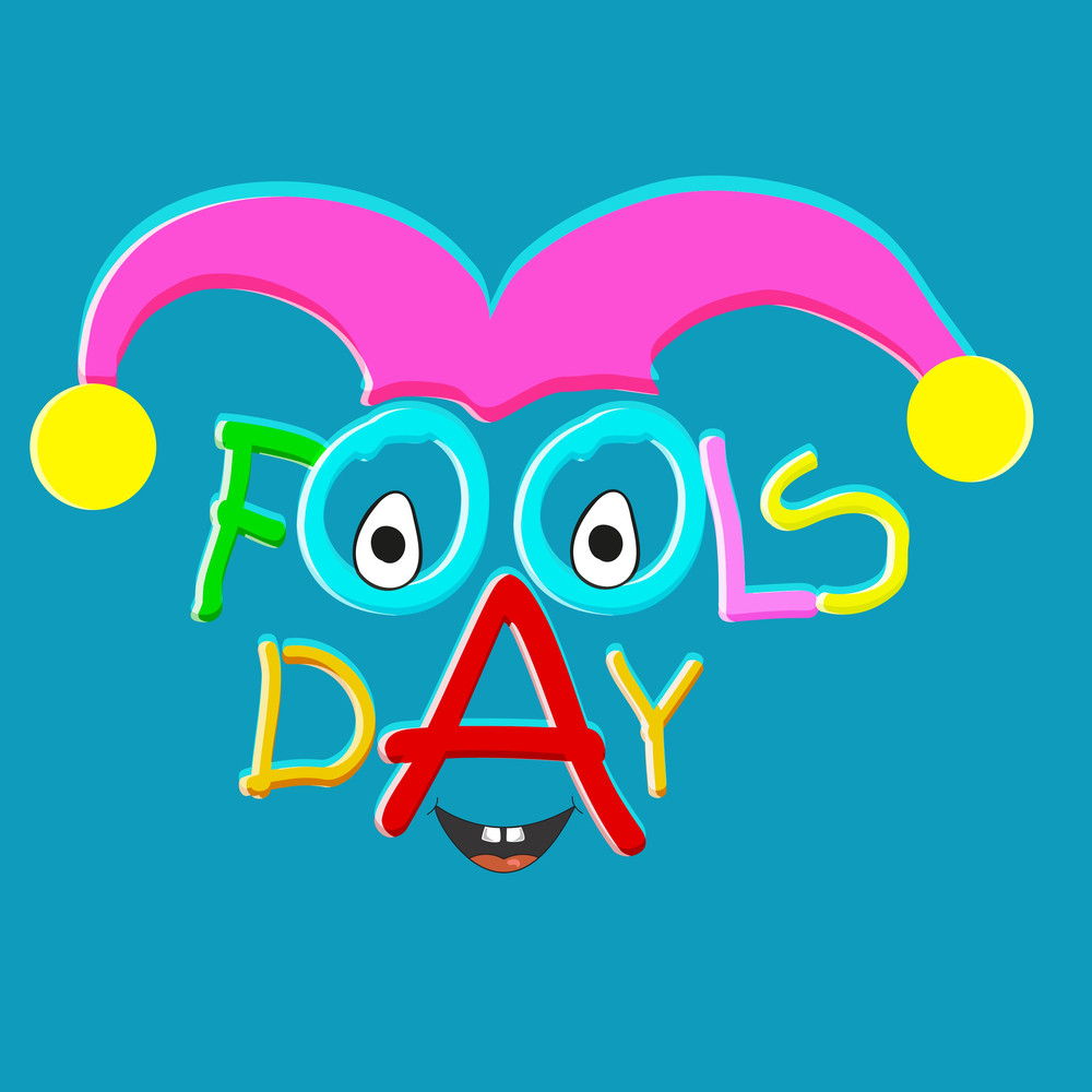 Happy Fool's Day Funky Concept With Stylish Colorful Text And Funny Face On Blue Background.