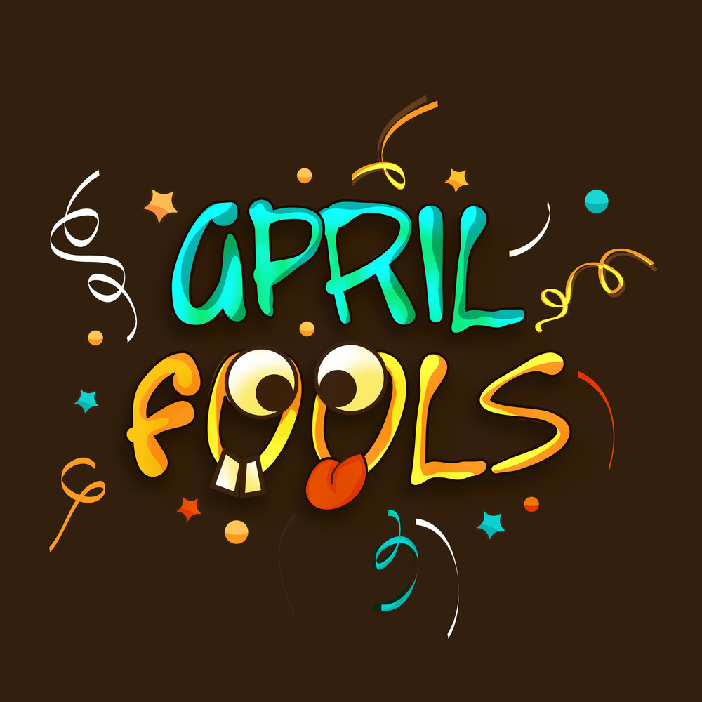 Happy Fool's Day Funky Concept With Stylish Funny Text On Abstract Background.