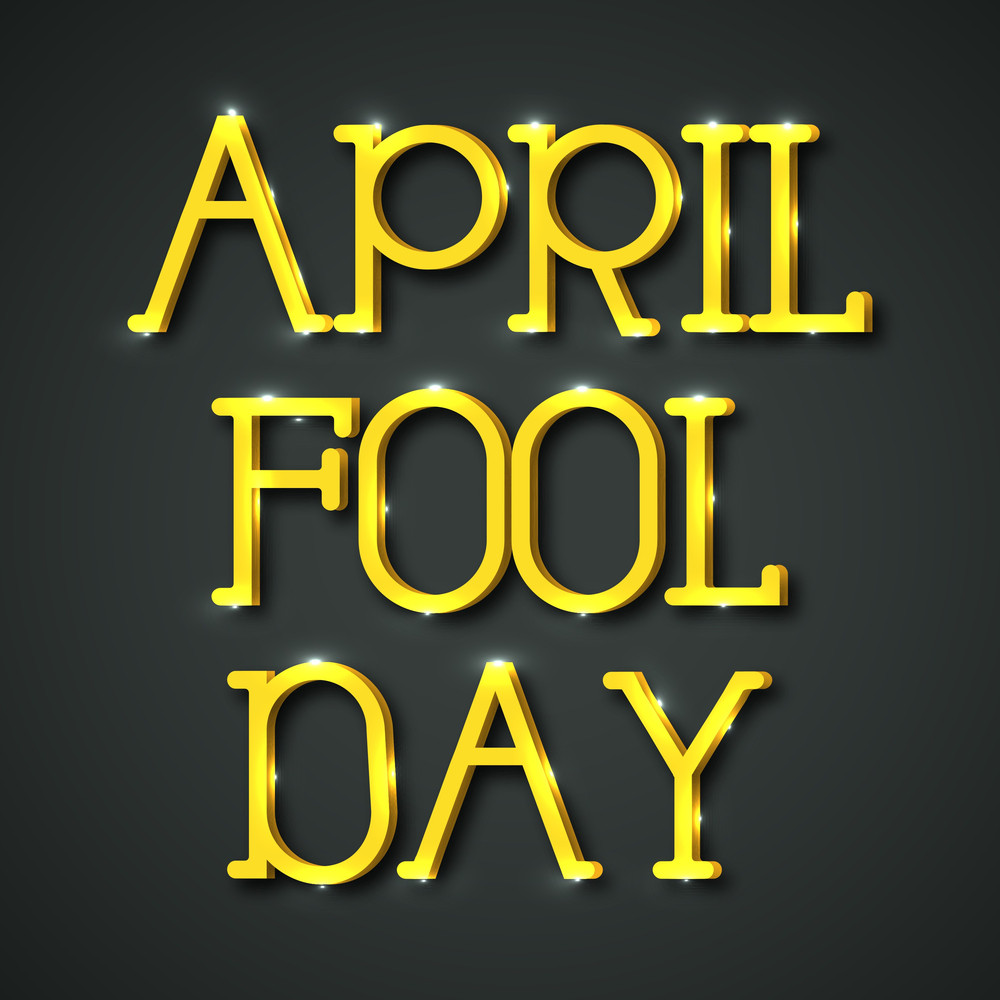 Happy Fool's Day Funky Concept With Stylish Golden Text On Grey Background.