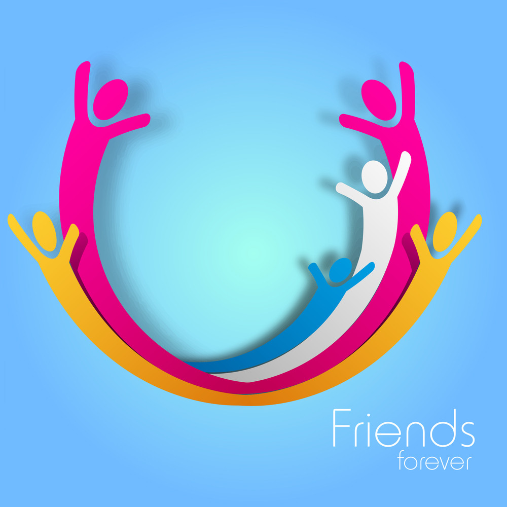 Happy Friendship Day Background With Colorful Enjoying People On Blue Background.
