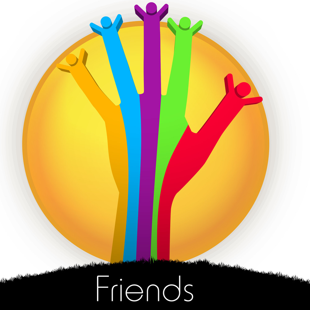Happy Friendship Day Background With Colorful Human Hand On Yellow And Grey Background.