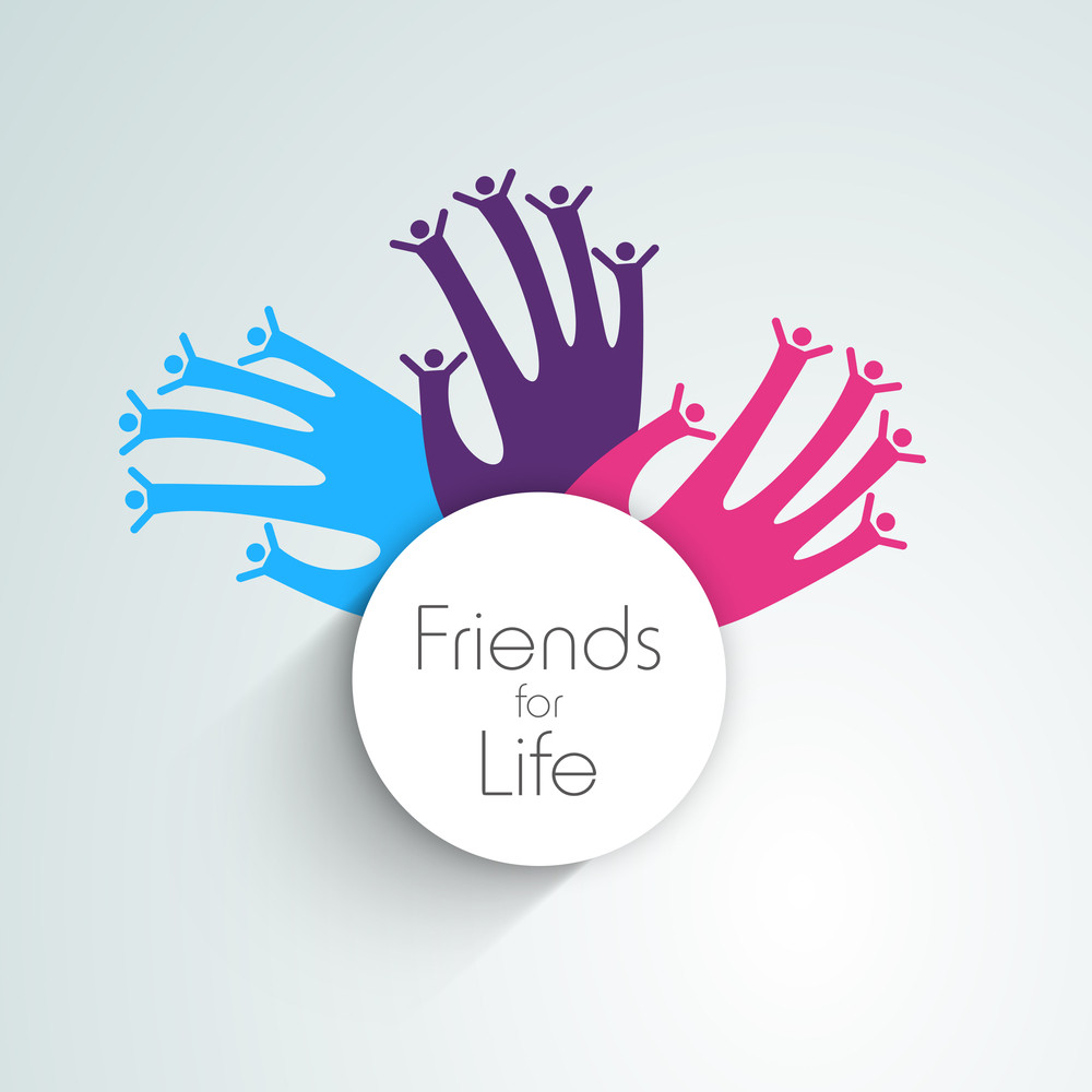 Happy Friendship Day Background With Colorful Human Hands On Grey Background.