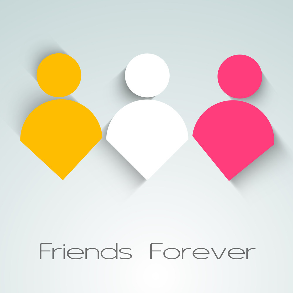 Happy Friendship Day Background With Colorful Humans On Grey Background.