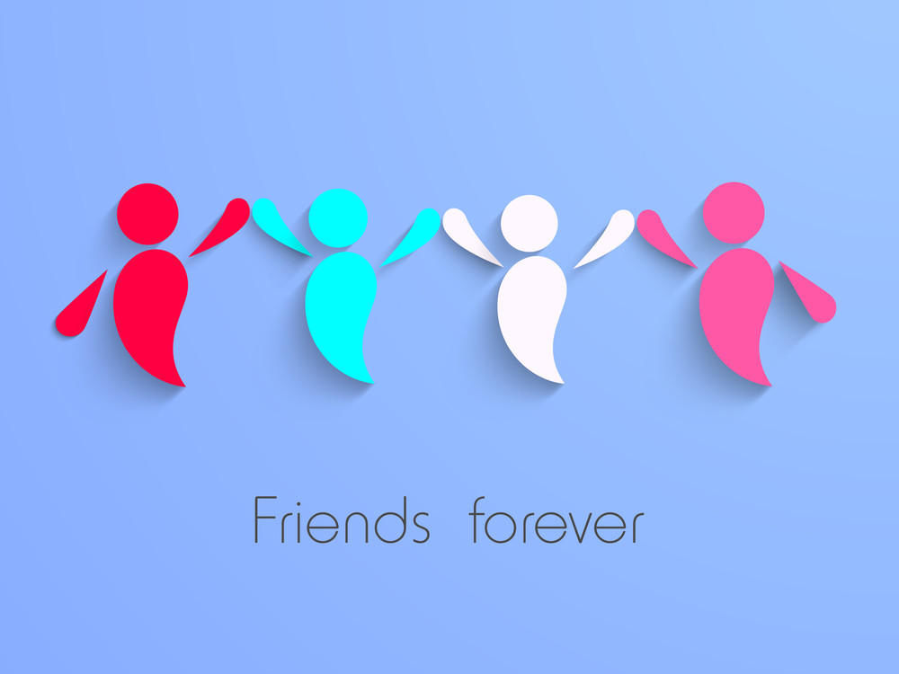 Happy Friendship Day Background With Colorful Illustration Of Friends On Blue Background.