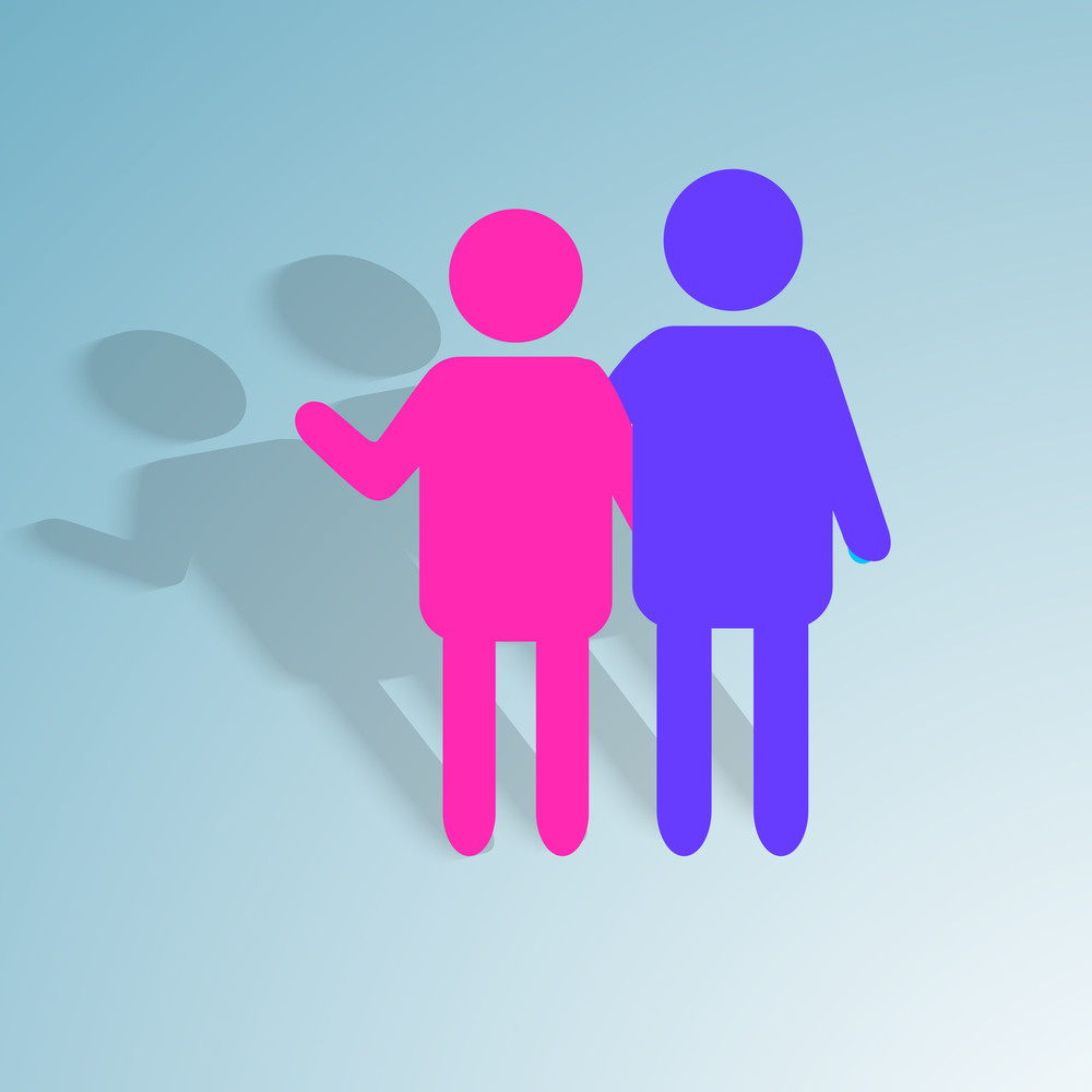 Happy Friendship Day Background With Colorful Silhouette Of Friends On Blue Background.