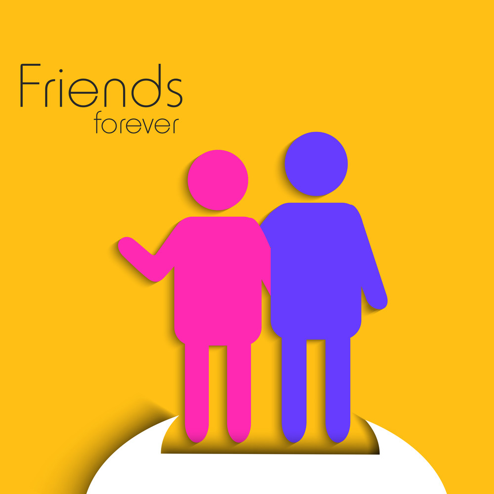 Happy Friendship Day Background With Colorful Silhouette Of Friends On Yellow Background.