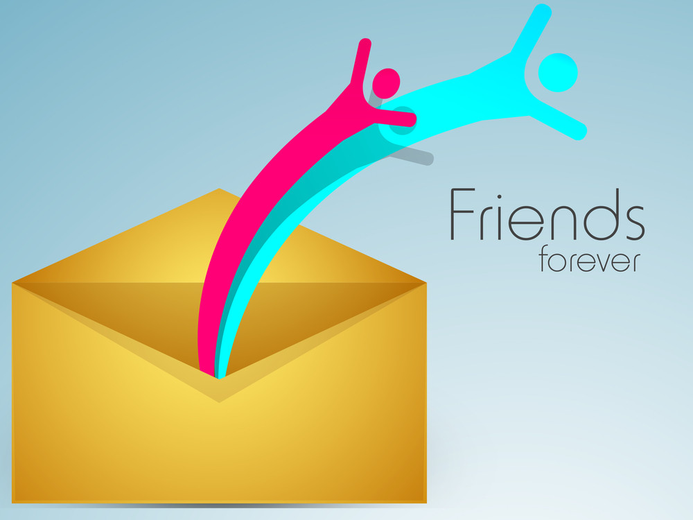 Happy Friendship Day Background With Colorful Silhouette Of Happy People