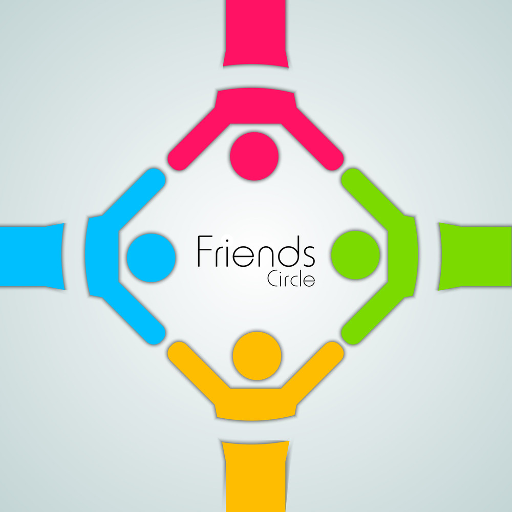 Happy Friendship Day Background With Colorful Silhouette Of Peoples On Green Background.