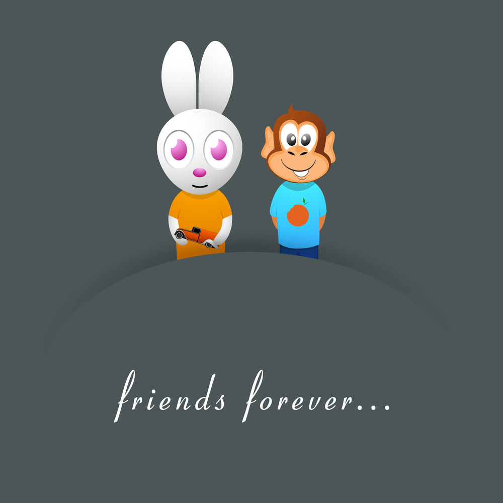 Happy Friendship Day Background With Cute Bunny And Monkey On Grey Background