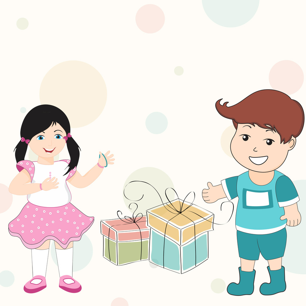 Happy Friendship Day Background With Cute Friends And Gift Boxes.