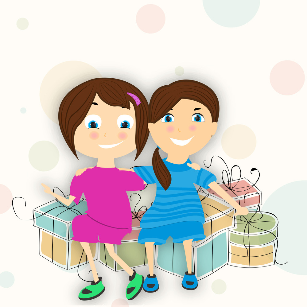 Happy Friendship Day Background With Cute Little Friends With Lots Of Gifts On Abstract Background.