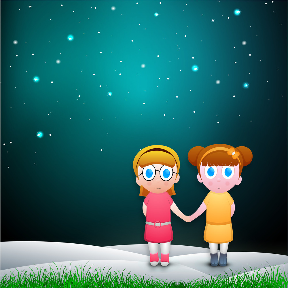 Happy Friendship Day Background With Cute Little Girls Holding Hands In The Night.