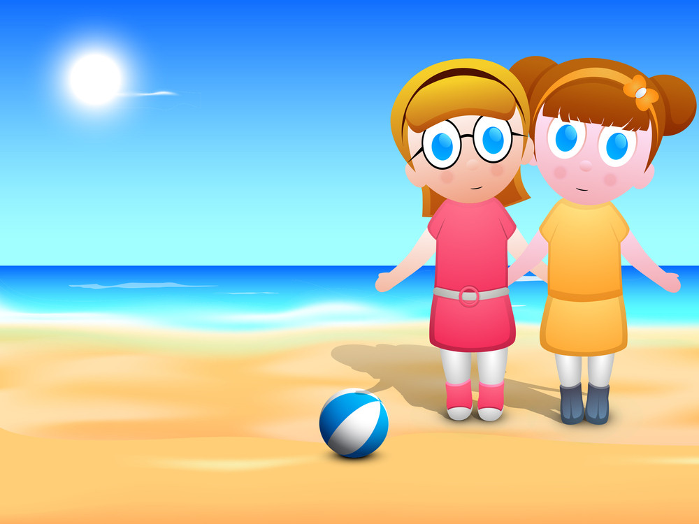 Happy Friendship Day Background With Cute Little Girls Joining Hands Together At Seaside.