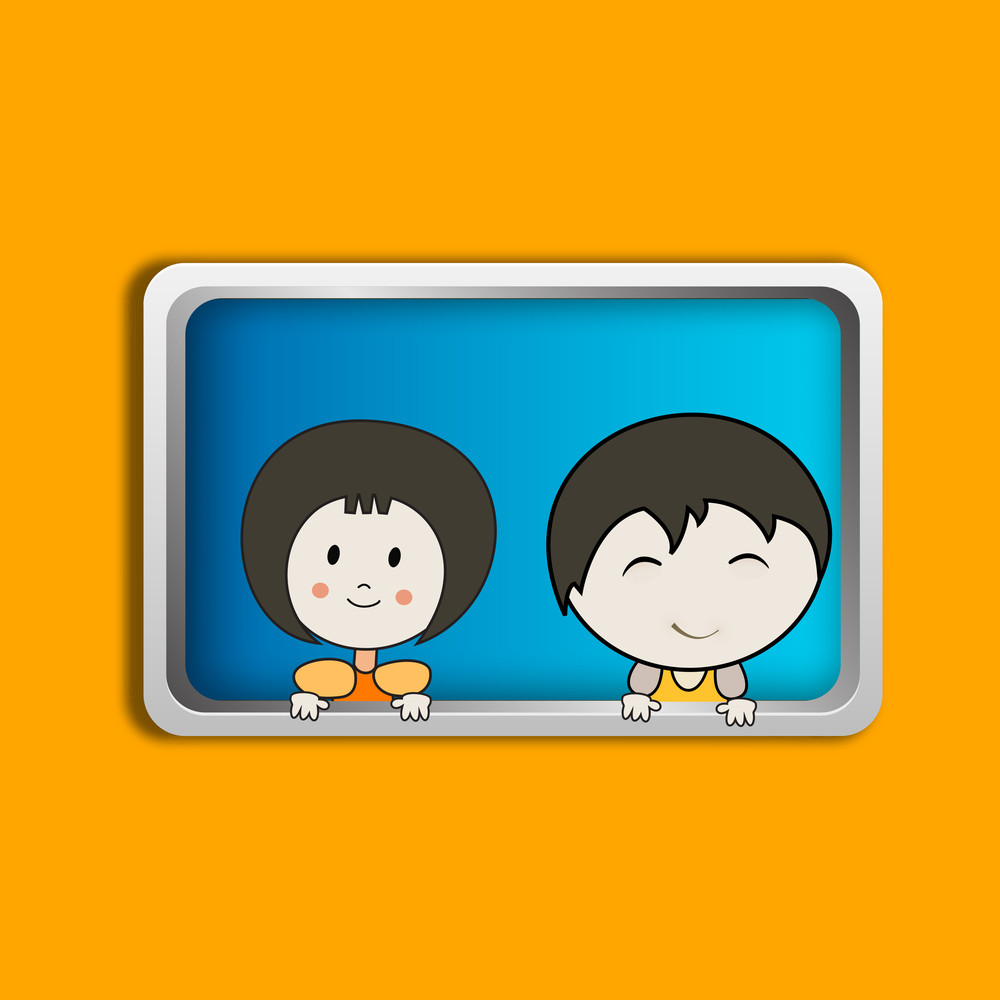 Happy Friendship Day Background With Cute Little Kids In A Frame On Yellow Background.
