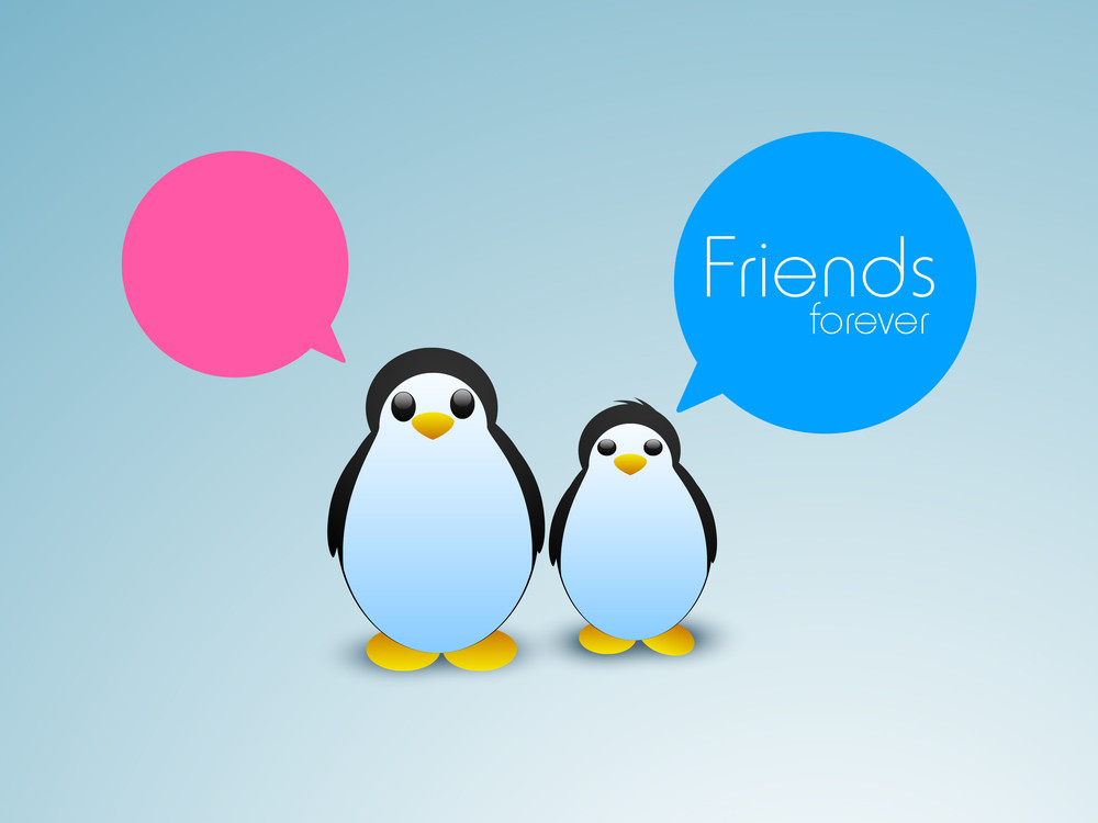 Happy Friendship Day Background With Cute Little Penguine On Green Background.