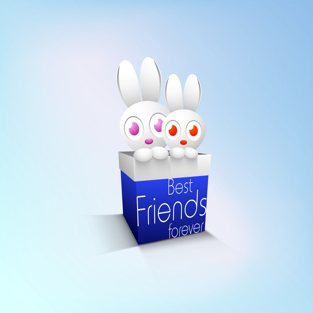 Happy Friendship Day Background With Cute Rabbits Friends In A Gift Box On Abstract Background.