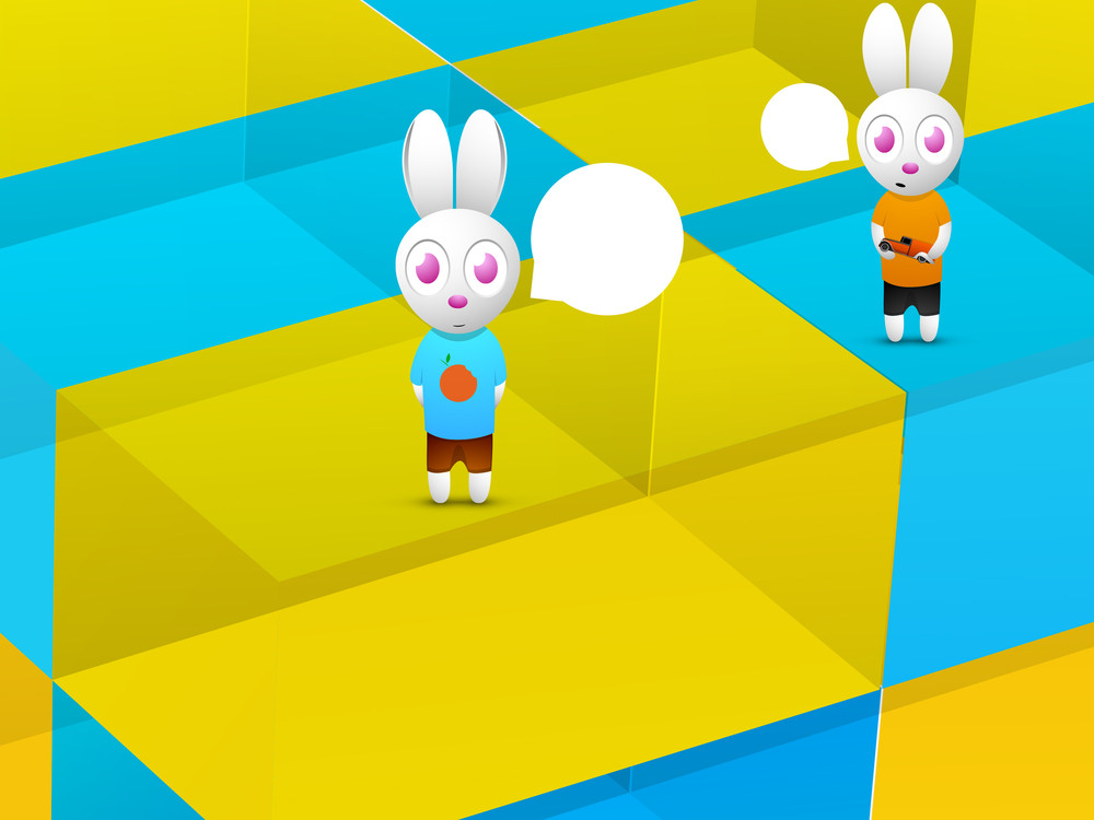 Happy Friendship Day Background With Cute Rabbits In A Colorful Compatments.