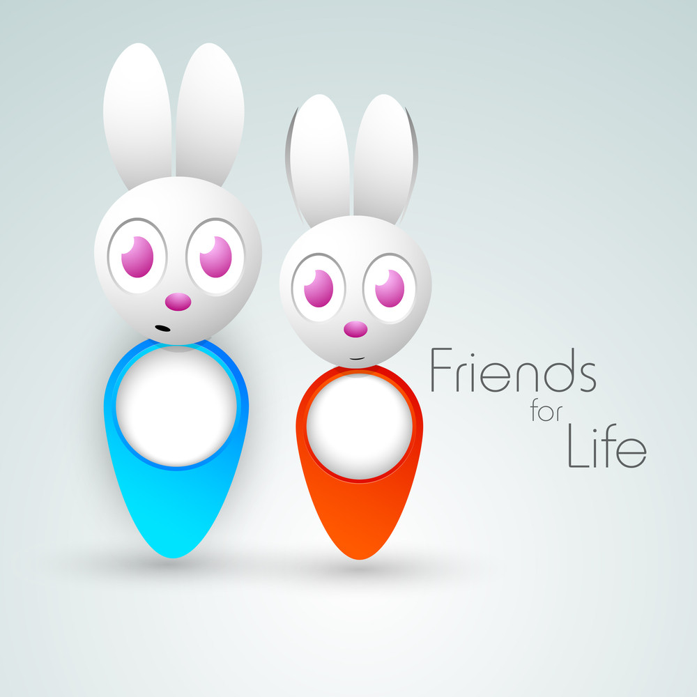 Happy Friendship Day Background With Cute Rabbits On Grey Background.