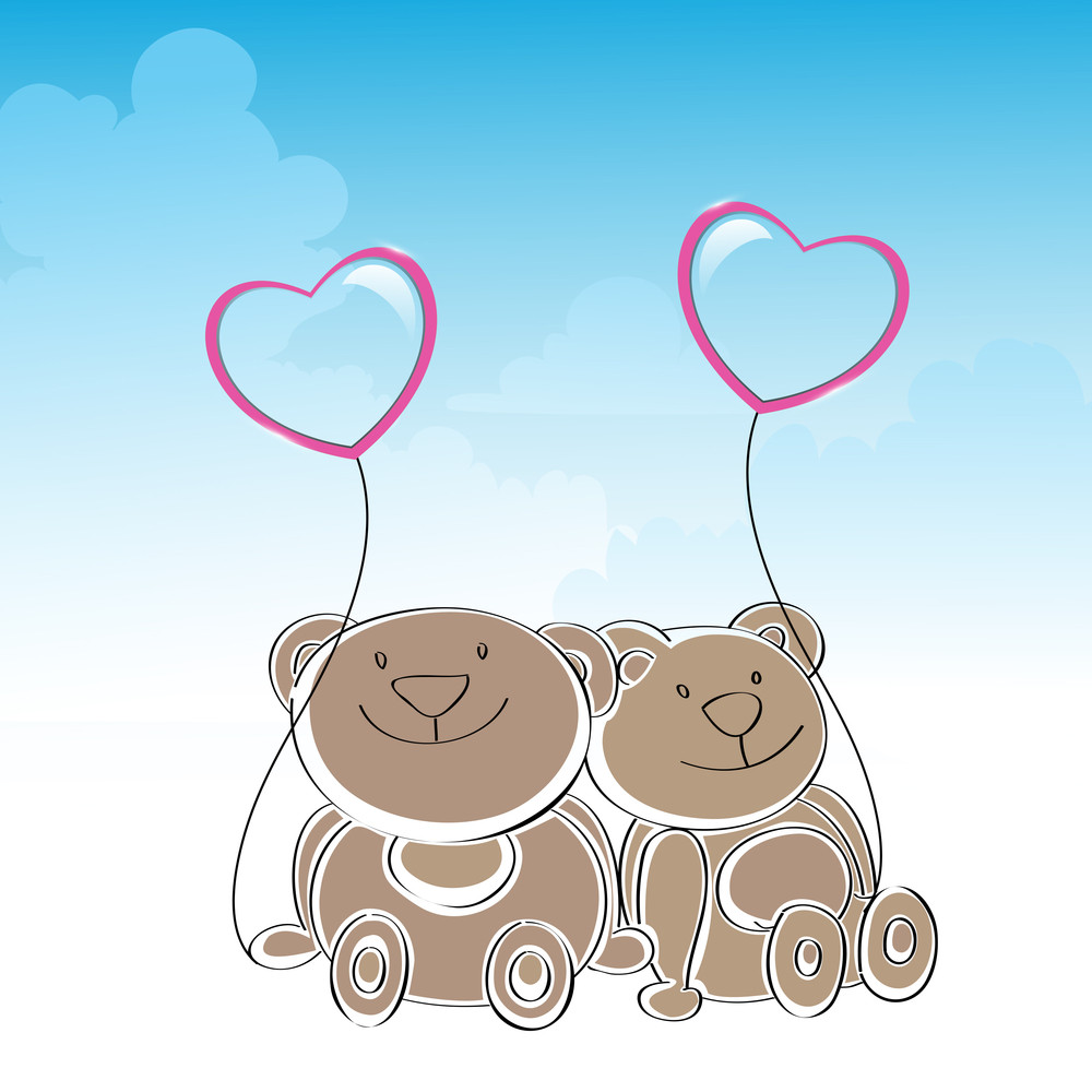 Happy Friendship Day Background With Cute Teddy Bears Holding Heart Shape Balloon On Blue Background.