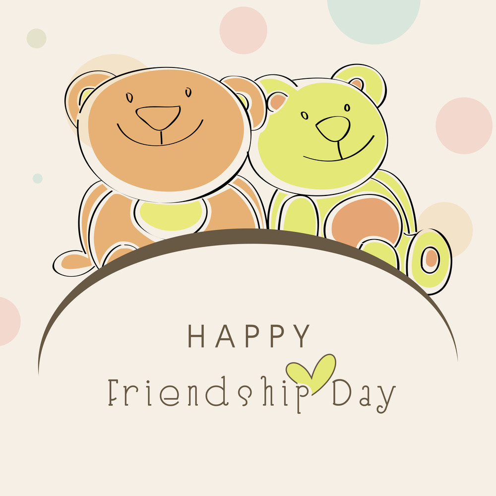 Happy Friendship Day Background With Cute Teddy Bears