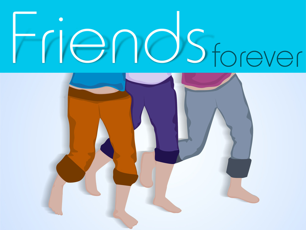 Happy Friendship Day Background With Frieillustration Of Mans Legs On Grey Background.