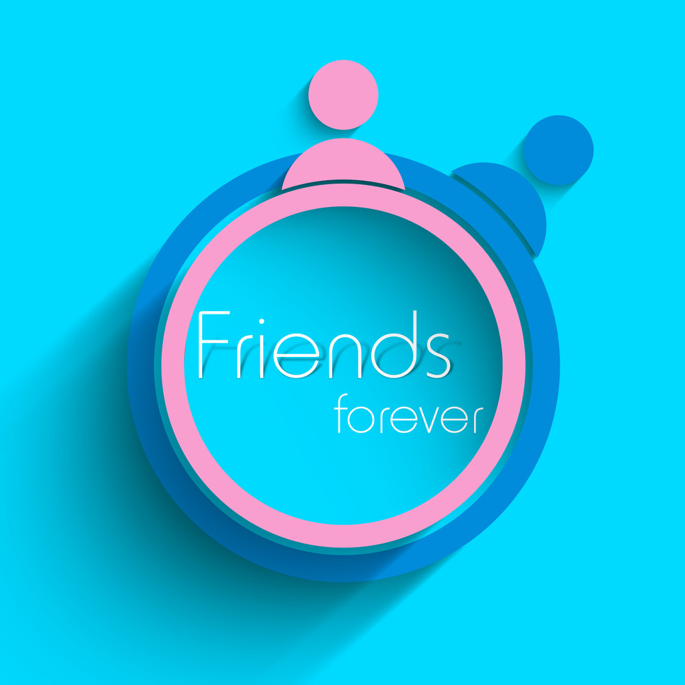Happy Friendship Day Background With Friends Circle On Blue.