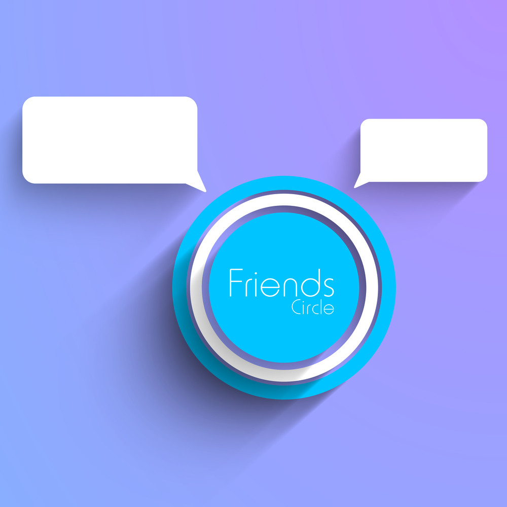 Happy Friendship Day Background With Frineds Circle And Speech Bubble On Purple Background.