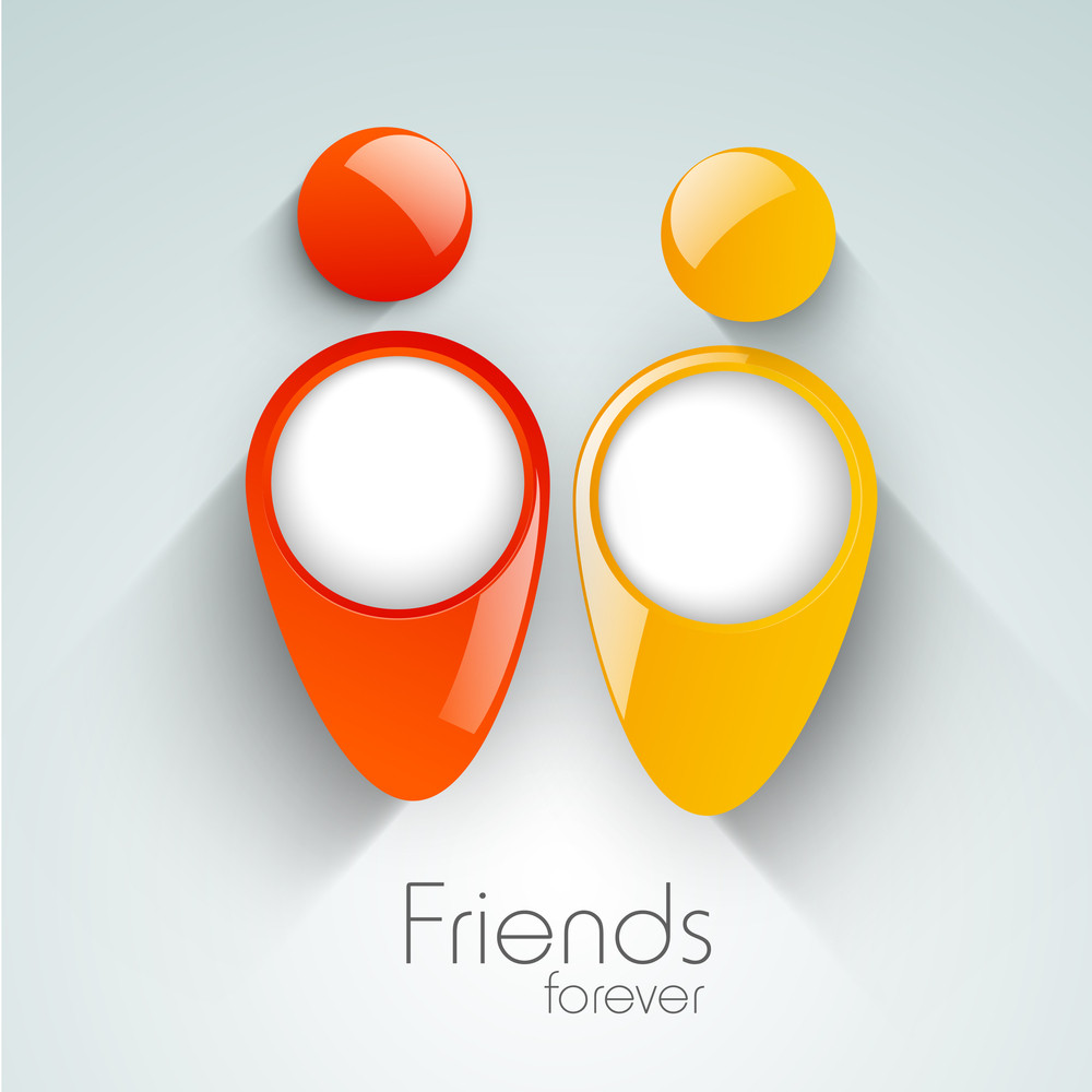 Happy Friendship Day Background With Glossy Icons Of Peoples On Grey Background.