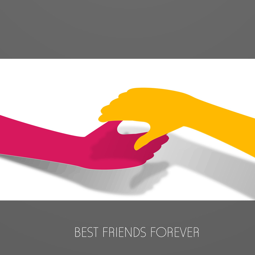 Happy Friendship Day Background With Handshake And Text Best Friend Forever