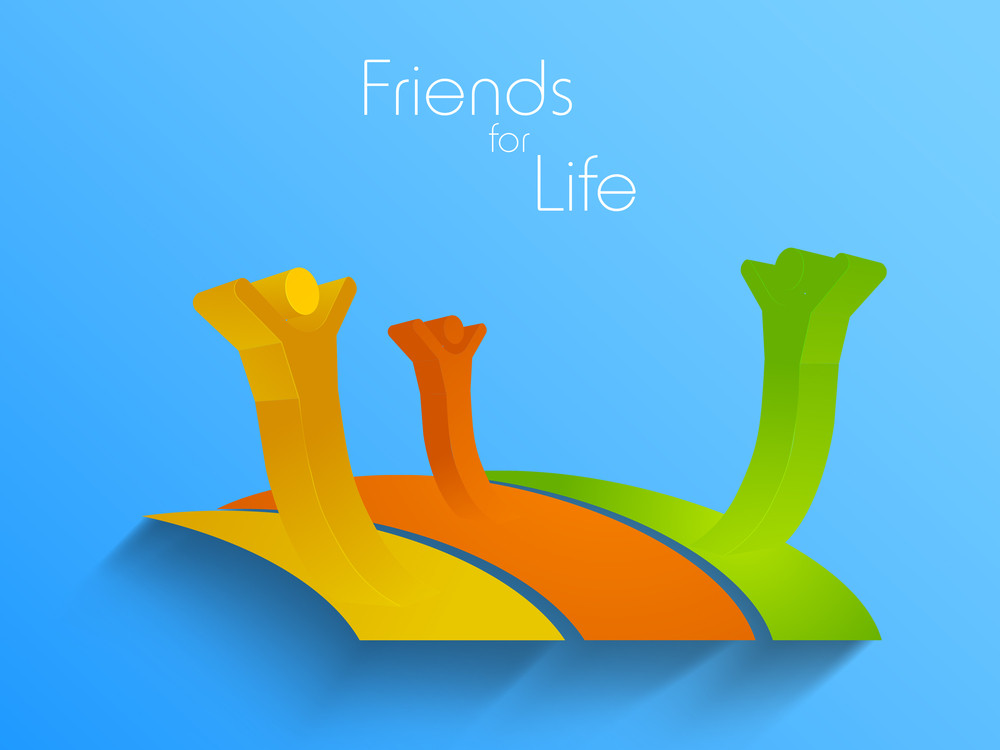Happy Friendship Day Background With Happy Frineds On Blue Background.