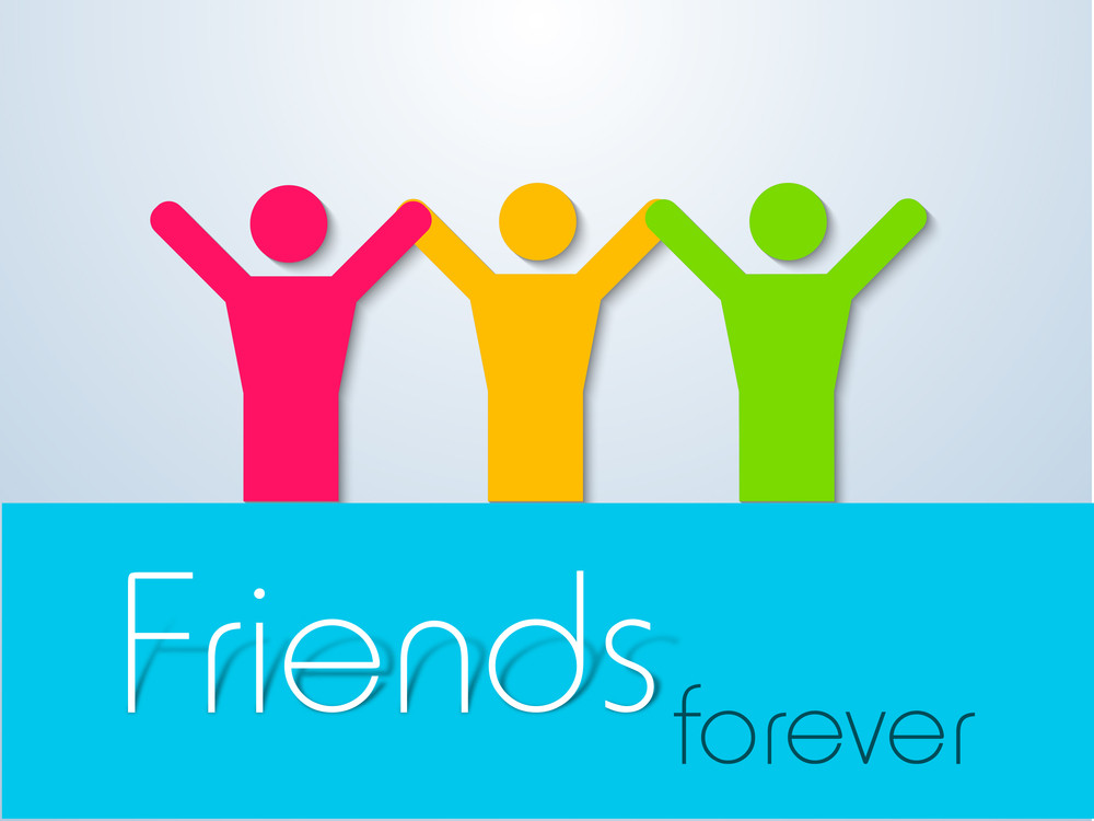 Happy Friendship Day Background With Happy Frineds On Grey And Blue Background.
