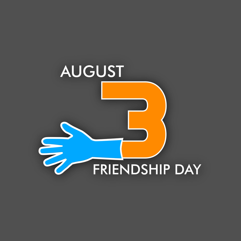 Happy Friendship Day Background With Human Hand On Grey Background.