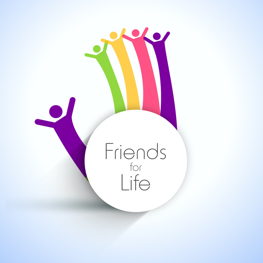 Happy Friendship Day Background With Human Hands On Blue Background.