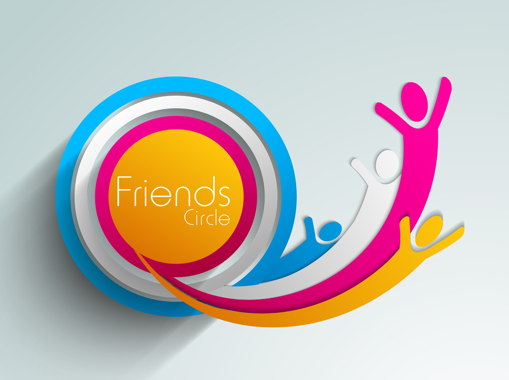 Happy Friendship Day Background With Illustration Of Colorful Silhouette On Grey Background.