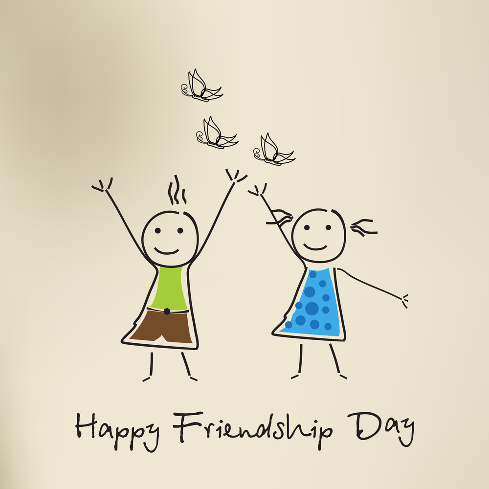Happy Friendship Day Background With Illustration Of Friends On Brown Background.
