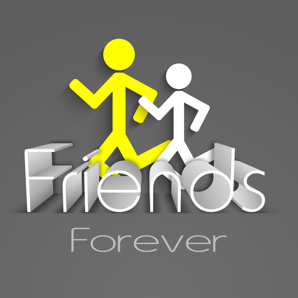 Happy Friendship Day Background With Illustration Of Running Peoples And Stylish Text Friends On Grey Background.