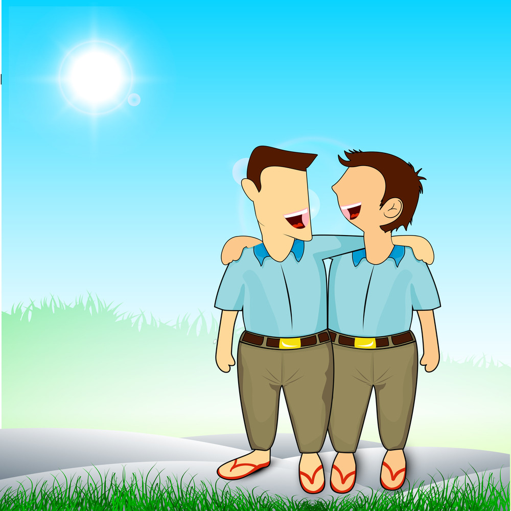 Happy Friendship Day Background With Illustration Of Two Friends Laughing On Nature Background.