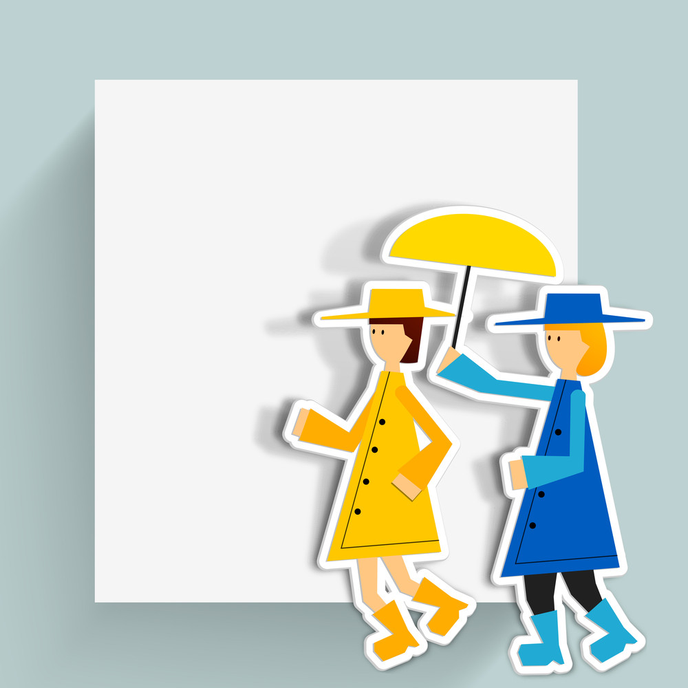 Happy Friendship Day Background With Little Girls Holding Umbrella.