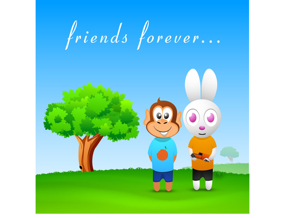 Happy Friendship Day Background With Monkey And Rabbit Friends On Nature  Background.