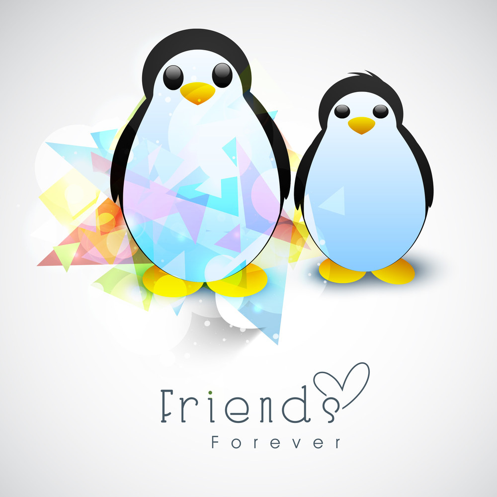 Happy Friendship Day Background With Penguine On Grey Background.