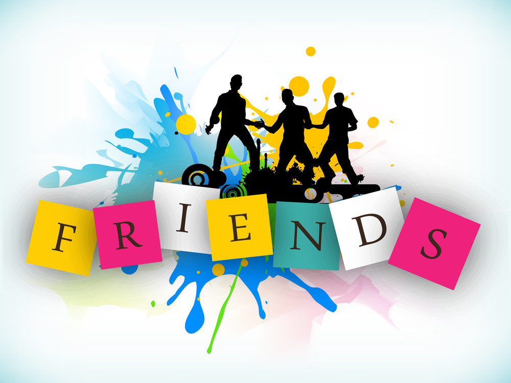 Happy Friendship Day Background With Silhouette Of Friends Enjoying And Stylish Text.
