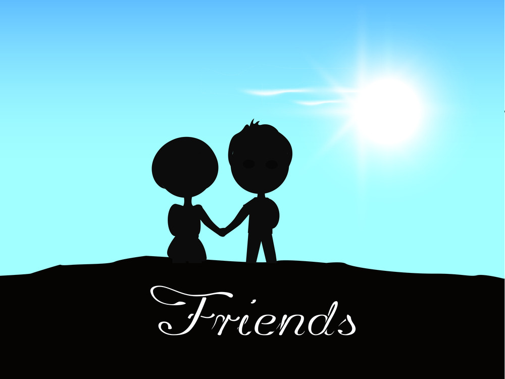 happy friendship day background with silhouette of friends holding