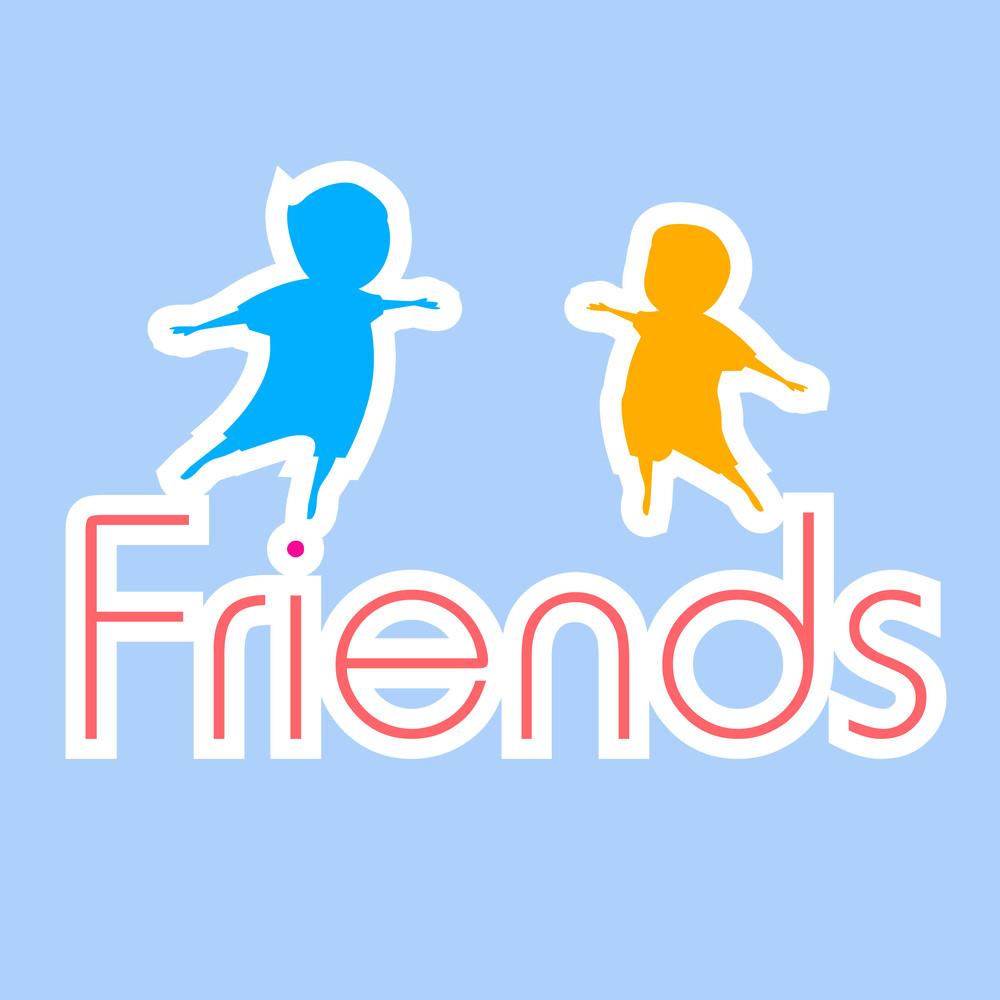 Happy Friendship Day Background With Silhouette Of Friends On Blue Background With Stylish Text.