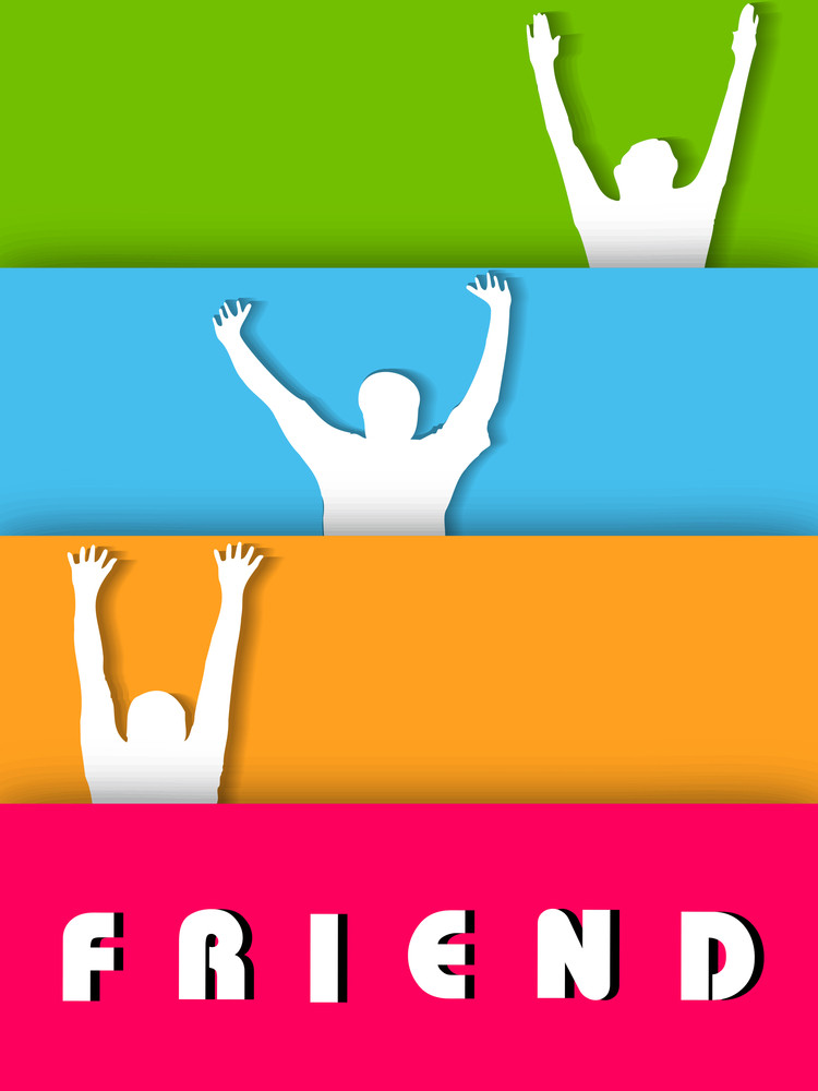 Happy Friendship Day Background With Silhouette Of Happy Peoples On Colorful Lines Background.