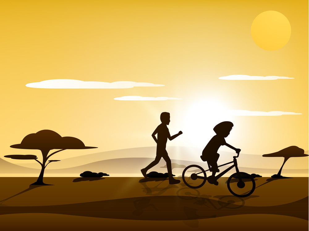 Happy Friendship Day Background With Silhoustte Of Friends Cycling And Running On Nature Background.
