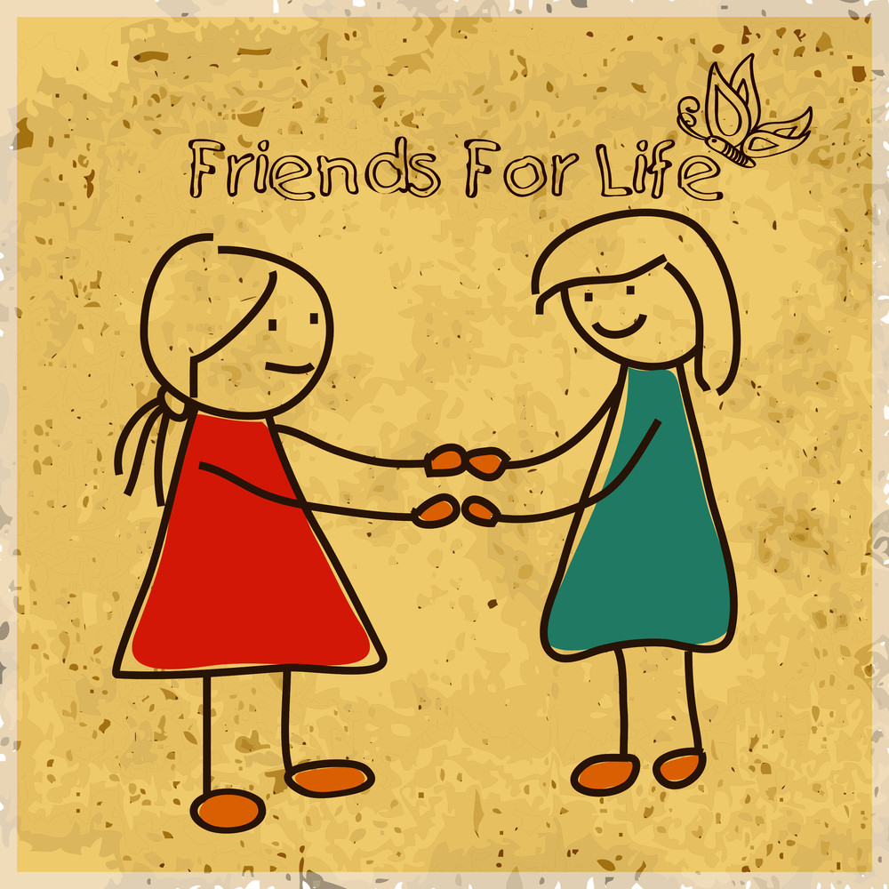 Happy Friendship Day Background With Sketch Of Little Girls Playing On Grungy Yellow Background.