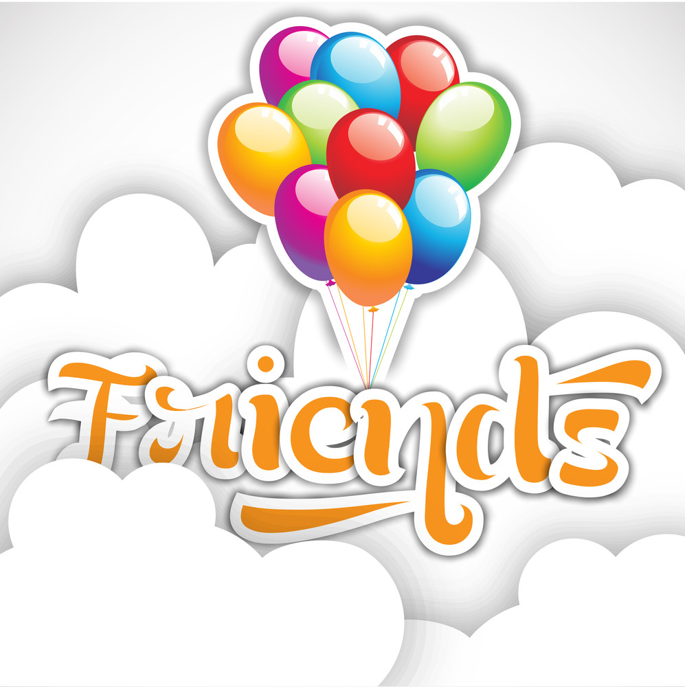 Happy Friendship Day Background With Stylish Text And Glossy Balloon On Grey Background.
