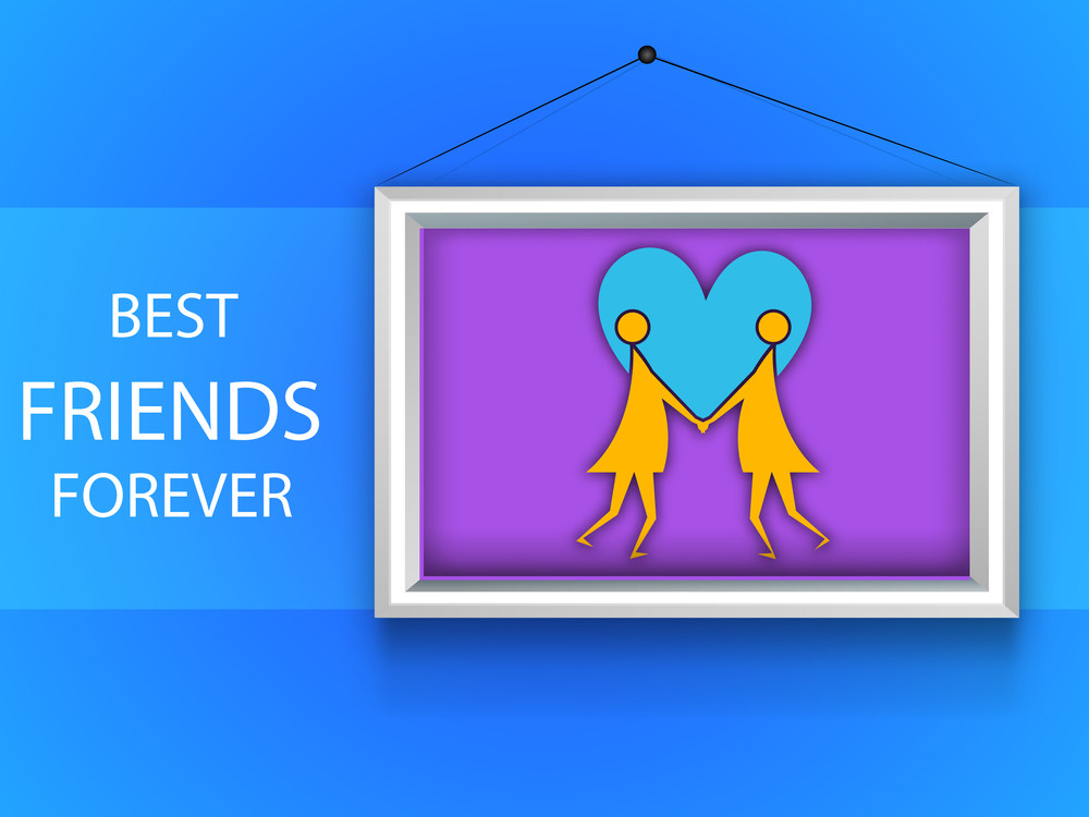 Happy Friendship Day Background With Two Girls Holding Hands In A Frame On Blue Background.