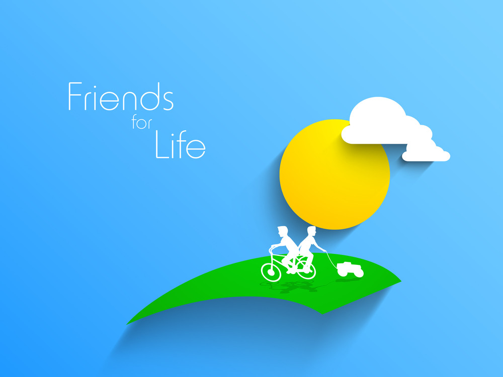 Happy Friendship Day Background With White Silhoueete Of Friends Cycling On Nature Background.